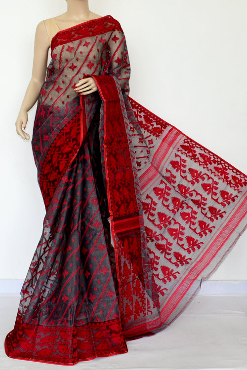 5933101ca4 Grey Red Jamdani Handwoven Bengal Tant Cotton Saree (Without Blouse) 17018