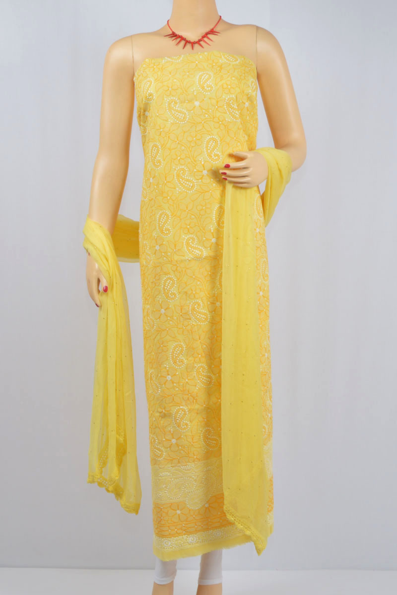 Yellow Color Hand Embroidered Luckowi Chikankari Suit ( Cotton) MCSU400011