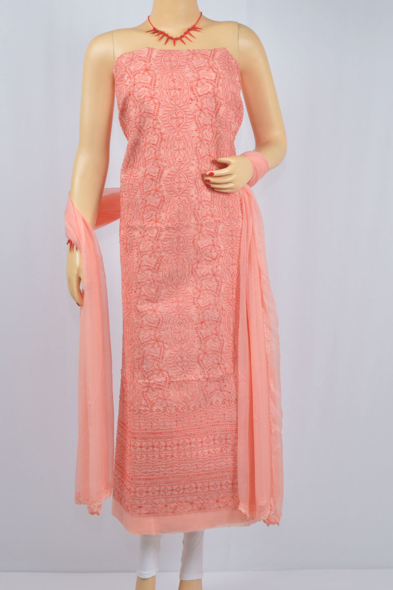 Peach Color Hand Embroidered Lucknowi Chikankari Suit (Cotton) - MCSU400013