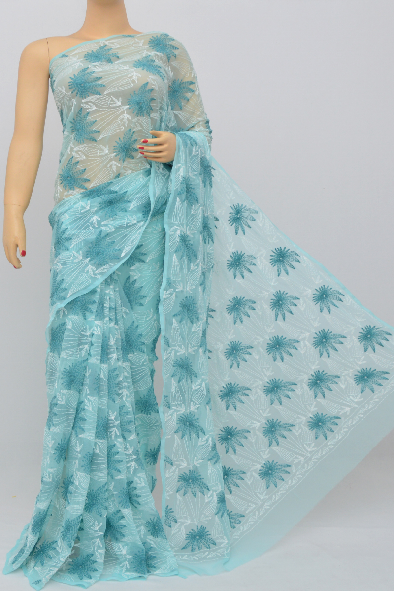 Blue Color Hand Embroidered Tepchi Work Lucknowi Chikankari Saree (With Blouse - Georgette) MC250521