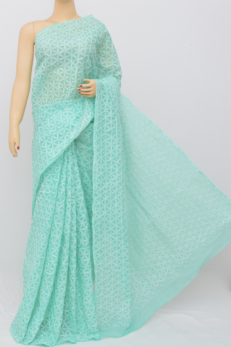 Seagreen Color Kota Cotton Tepchi Work Hand Embroidered Lucknowi Chikankari Saree (Without Blouse - cotton) MC250523
