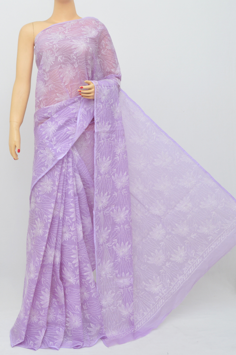 Lavender Color Kota Cotton Hand Embroidered Lucknowi Chikankari Saree (Without Blouse - cotton) MC250524