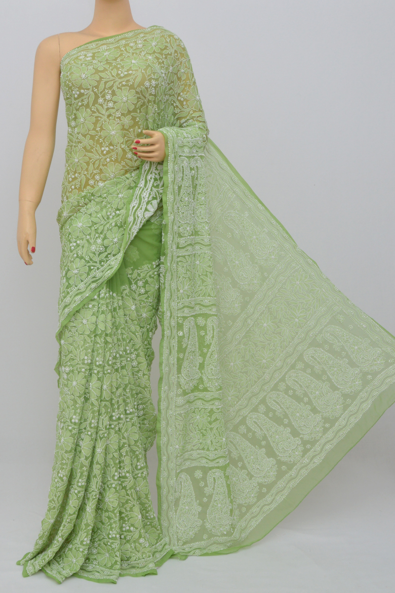 Olive Green Color, Allover Jaal Heavy Palla Hand Embroidered Lucknowi Chikankari Saree (With Blouse - Georgette) MC250519