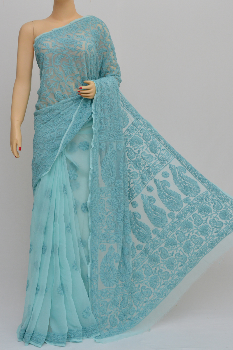 Teal Colour,Half Jaal Hand Embroidered Work Lucknowi Chikankari Saree (With Blouse - Georgette) SS250552