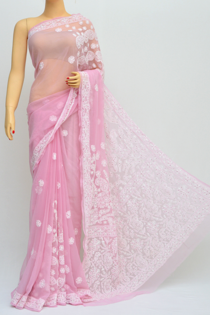 Onion Colour Hand Embroidered Lucknowi Chikankari Saree (with Blouse - Georgette) Sm250555