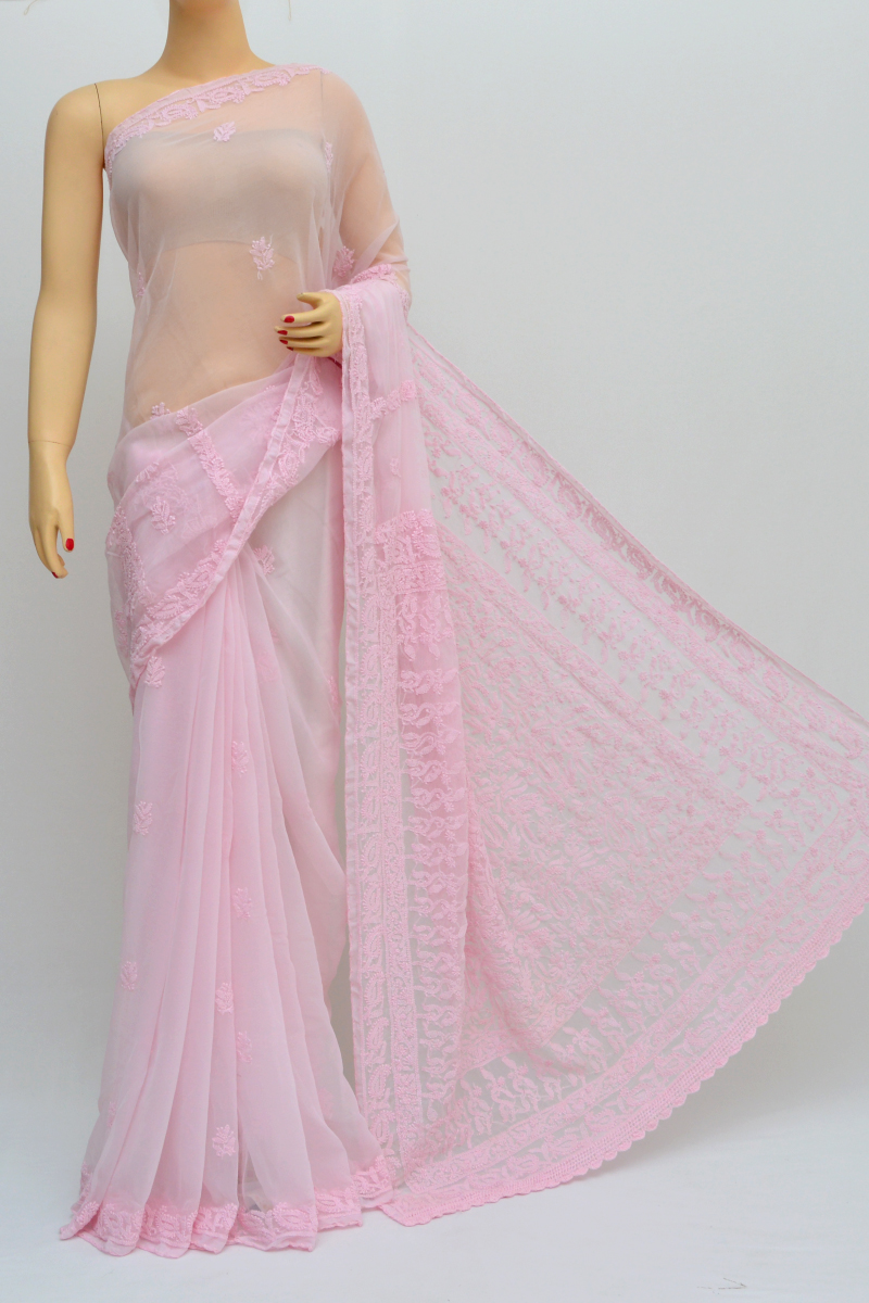 Pink Color Hand Embroidered Lucknowi Chikankari Saree (With Blouse - Georgette) KC250556