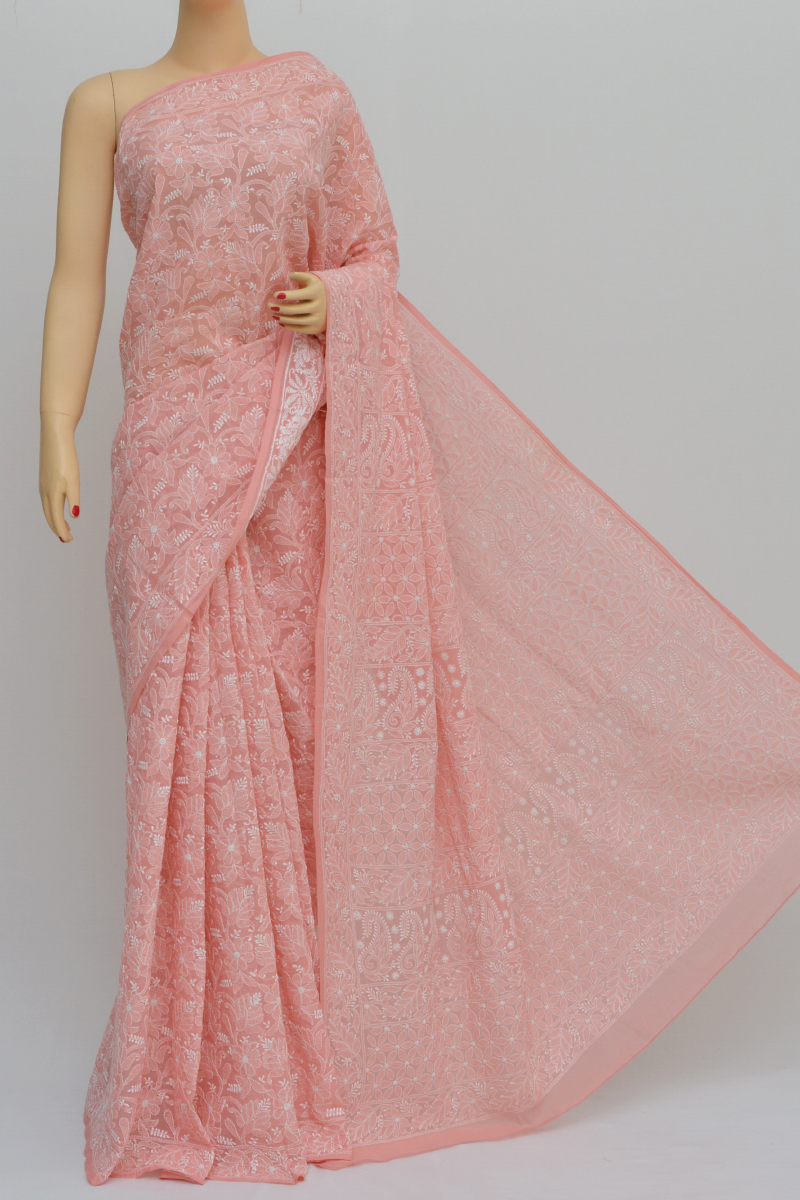 Peach Color Allover Fanda Jaal Hand Embroidered Cotton Lucknowi Chikankari Saree (with Blouse - Cotton) My250558
