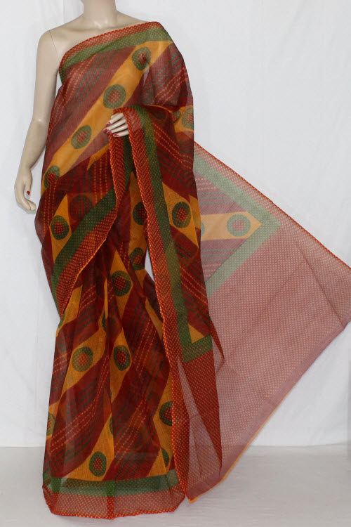 Red Orange Yellow Real JP Kota Doria Chunri Printed Cotton Saree (without Blouse) 15225