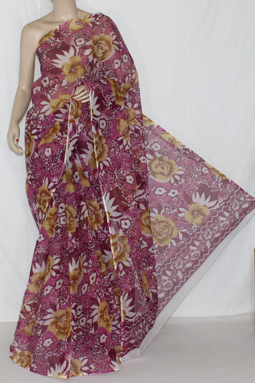 Magenta Real JP Kota Doria Floral Printed Cotton Saree (without Blouse) 15229