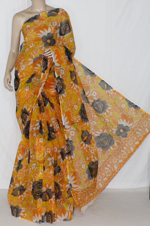 Golden Yellow Real JP Kota Doria Floral Printed Cotton Saree (without Blouse) 15232