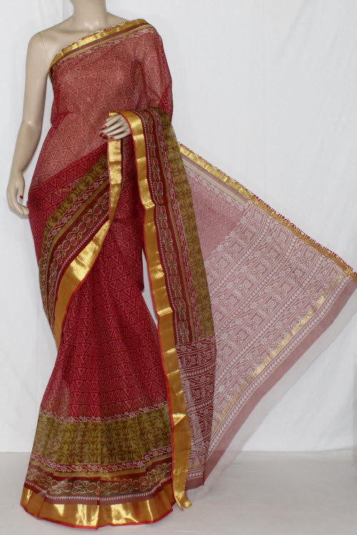 Red JP Kota Doria Printed Cotton Saree (without Blouse) Golden Zari 15233