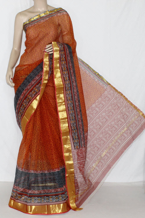 Red Yellow JP Kota Doria Printed Cotton Saree (without Blouse) Golden Zari 15234