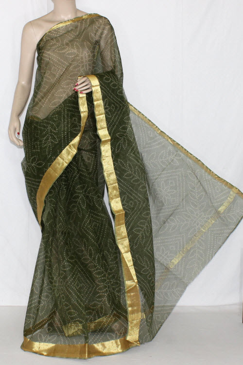 Bottle Green Grey JP Kota Doria Chunri Print Cotton Saree (without Blouse) Golden Zari 15237