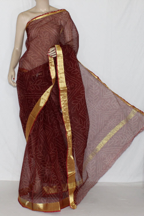 Maroon JP Kota Doria Chunri Print Cotton Saree (without Blouse) Golden Zari 15238