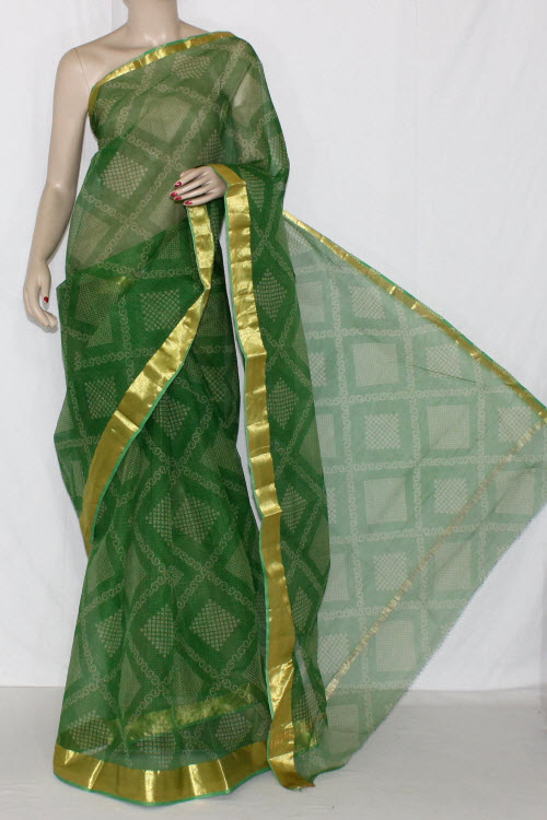 Green JP Kota Doria Chunri Print Cotton Saree (without Blouse) Golden Zari 15239