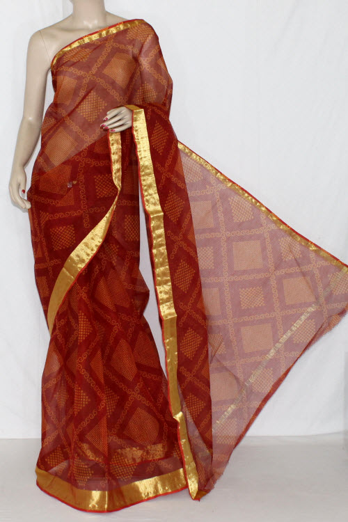 Red Orange JP Kota Doria Chunri Print Cotton Saree (without Blouse) Golden Zari 15240
