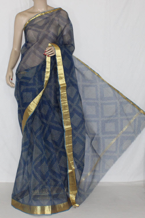 Blue JP Kota Doria Chunri Print Cotton Saree (without Blouse) Golden Zari 15241