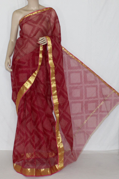 Maroon JP Kota Doria Chunri Print Cotton Saree (without Blouse) Golden Zari 15242