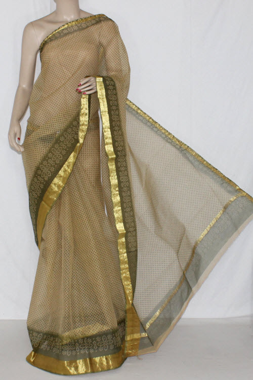 Fawn Menhdi Green JP Kota Doria Printed Cotton Saree (without Blouse) Golden Zari 15243