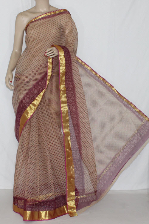 Fawn Maroon JP Kota Doria Printed Cotton Saree (without Blouse) Golden Zari 15244