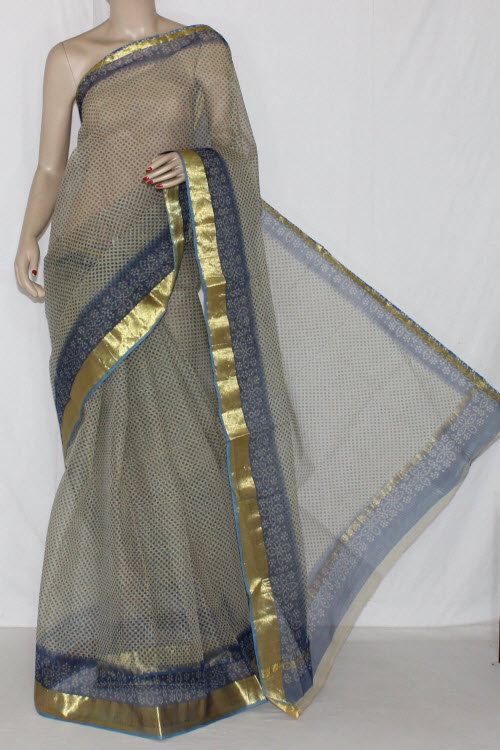 Blue Grey JP Kota Doria Printed Cotton Saree (without Blouse) Golden Zari 15246