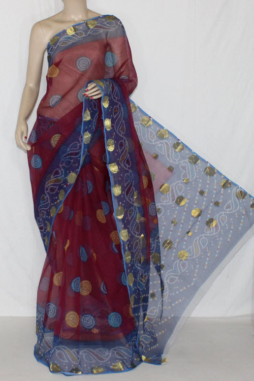 Maroon Grey JP Kota Doria Printed Cotton Saree (without Blouse) Zari Border & Pallu 15251