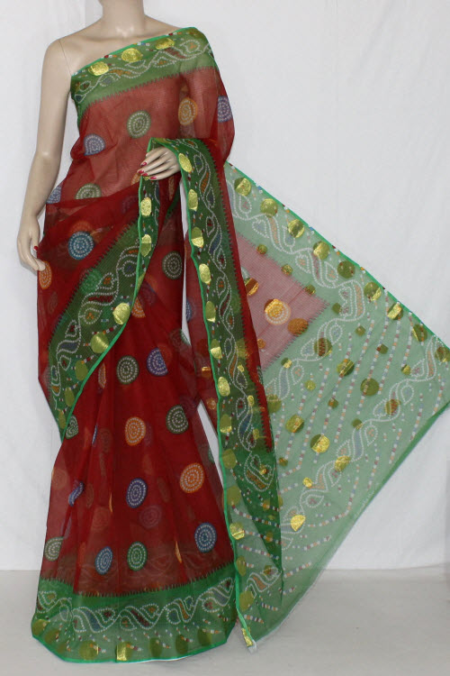 Red Green JP Kota Doria Printed Cotton Saree (without Blouse) Zari Border & Pallu 15254