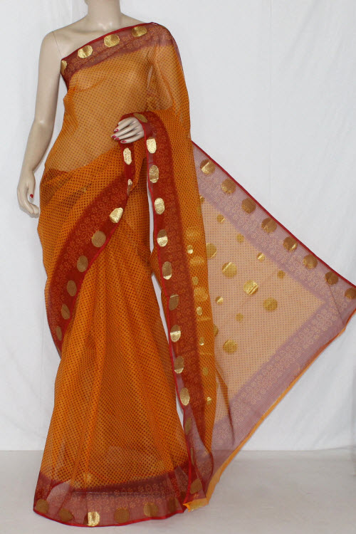 Orange Red JP Kota Doria Printed Cotton Saree (without Blouse) Zari Border & Pallu 15258