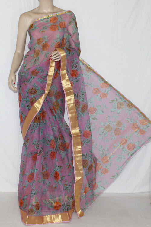 Purple JP Kota Doria Floral Printed Cotton Saree (without Blouse) Golden Zari 15279