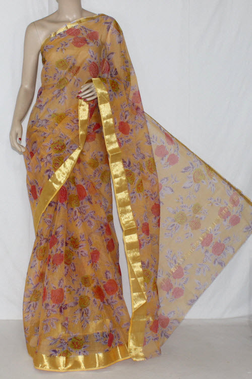 Light Peach JP Kota Doria Floral Printed Cotton Saree (without Blouse) Golden Zari 15280