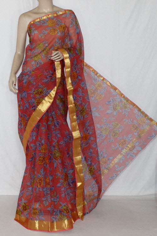 Peach JP Kota Doria Floral Printed Cotton Saree (without Blouse) Golden Zari 15281