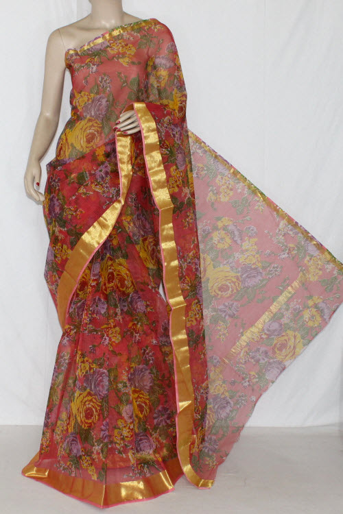 Peach JP Kota Doria Floral Printed Cotton Saree (without Blouse) Golden Zari 15285