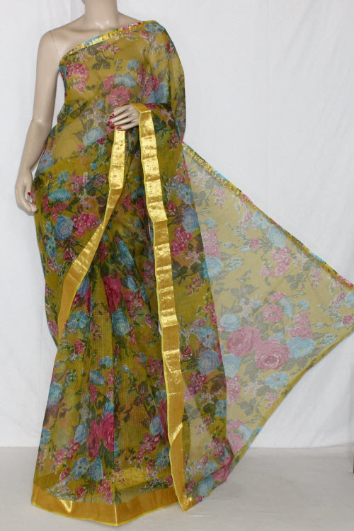 Menhdi Green JP Kota Doria Floral Printed Cotton Saree (without Blouse) Golden Zari 15286
