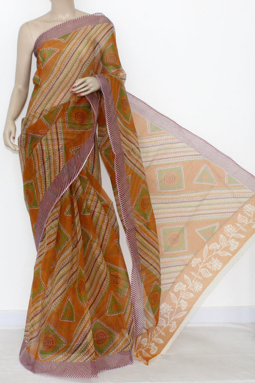 Purple JP Kota Doria Printed Cotton Saree (without Blouse) 15311