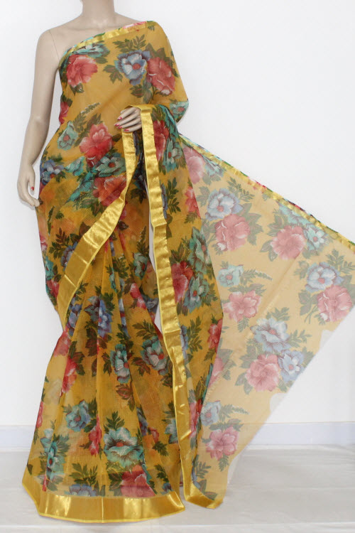 Yellow JP Kota Doria Printed Cotton Saree (without Blouse) Zari Border & Pallu 15316
