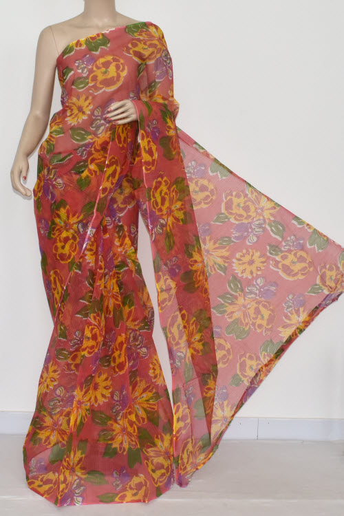Peach Jp Kota Doria Floral Print Cotton Saree (without Blouse) 15327