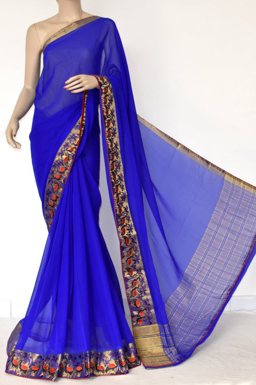 Royal Blue Handloom Semi-Chiffon Saree (with Blouse) Embroidery on Zari Border 16181