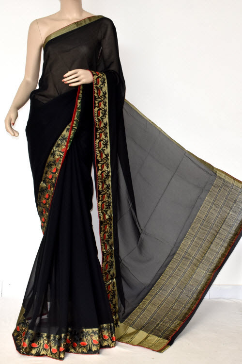 Black Handloom Semi-Chiffon Saree (with Blouse) Embroidery on Zari Border 16183