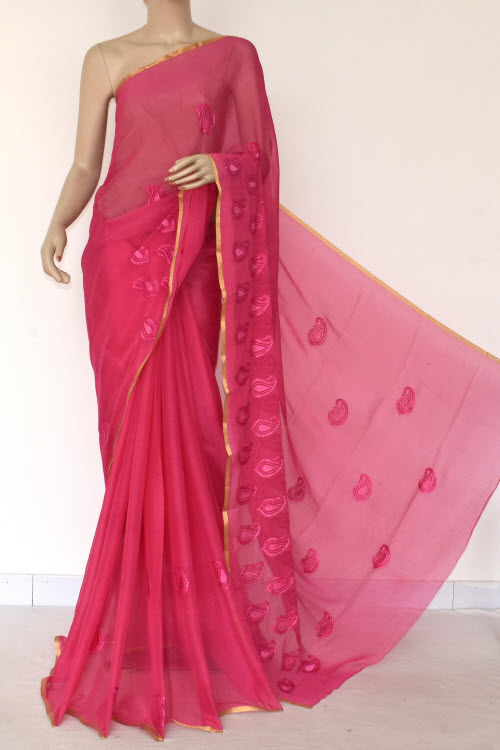 Dark Pink Handloom Semi-chiffon Saree (with Blouse) Resham Embroidery 16188