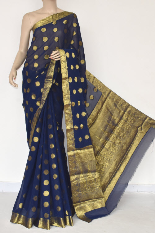 Navy Blue Handloom Semi-Chiffon Saree (with Blouse) Allover Zari Border and Booti 16190
