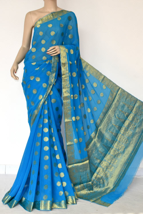 Pherozi Blue Handloom Semi-Chiffon Saree (with Blouse) Allover Zari Border and Booti 16197