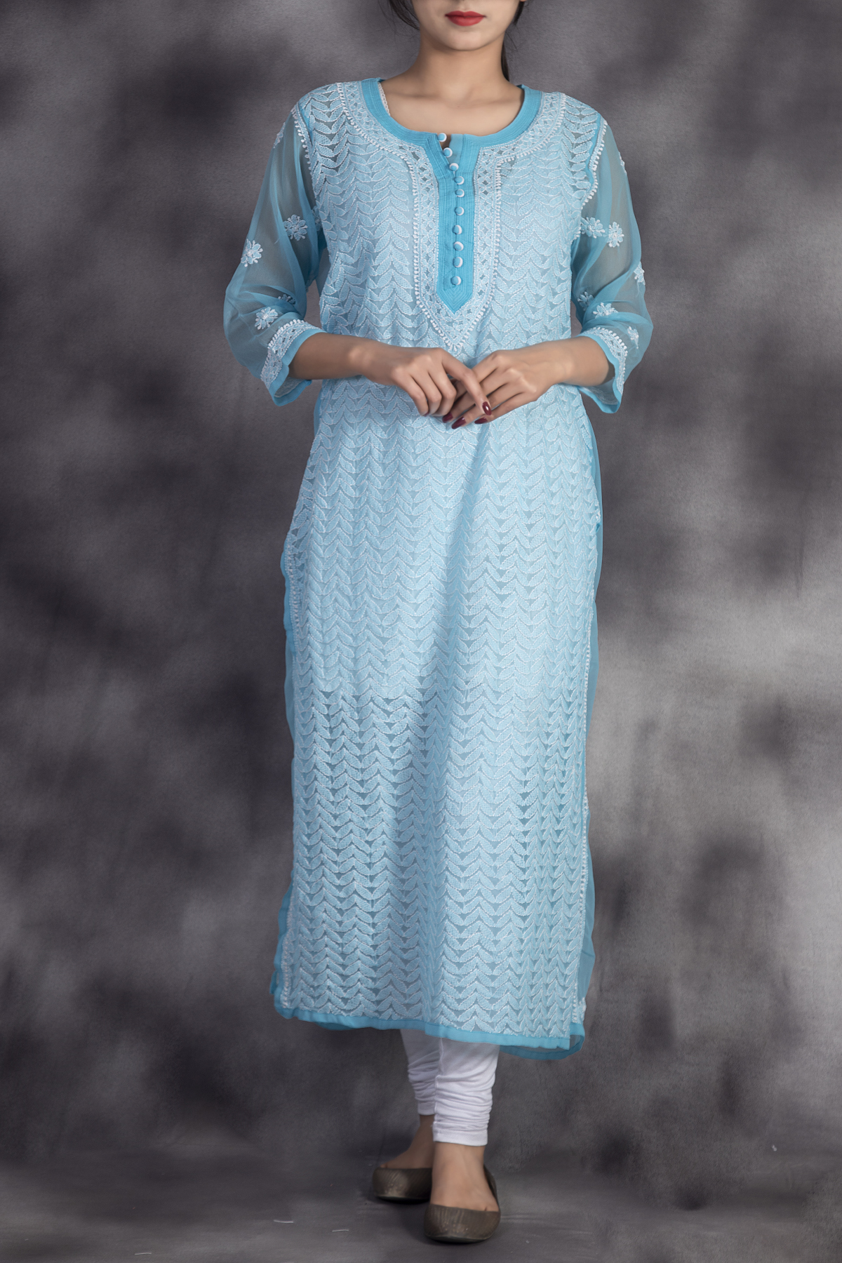Hand Embroidered Blue Georgette Lucknowi Chikan Kurti-GA250628