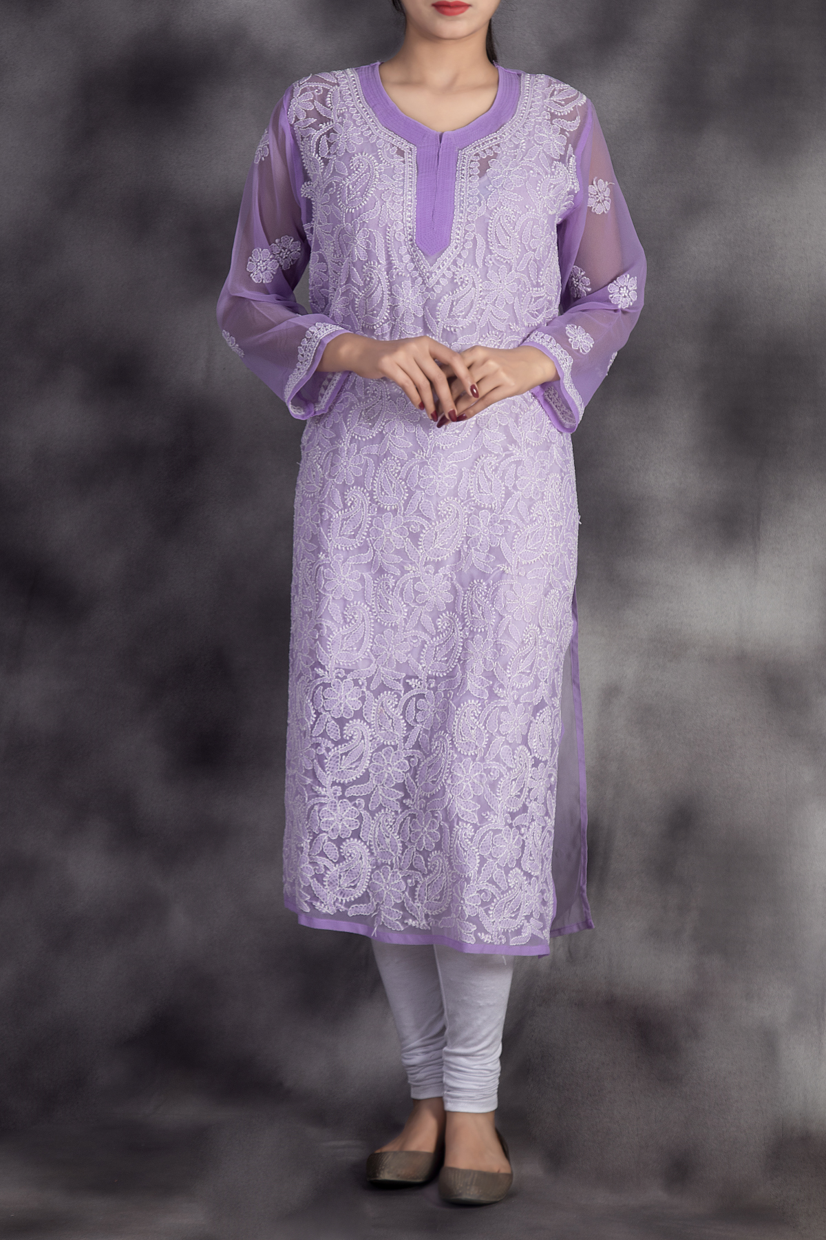 Hand Embroidered Lavender Georgette Lucknowi Chikan Kurti-ga250629
