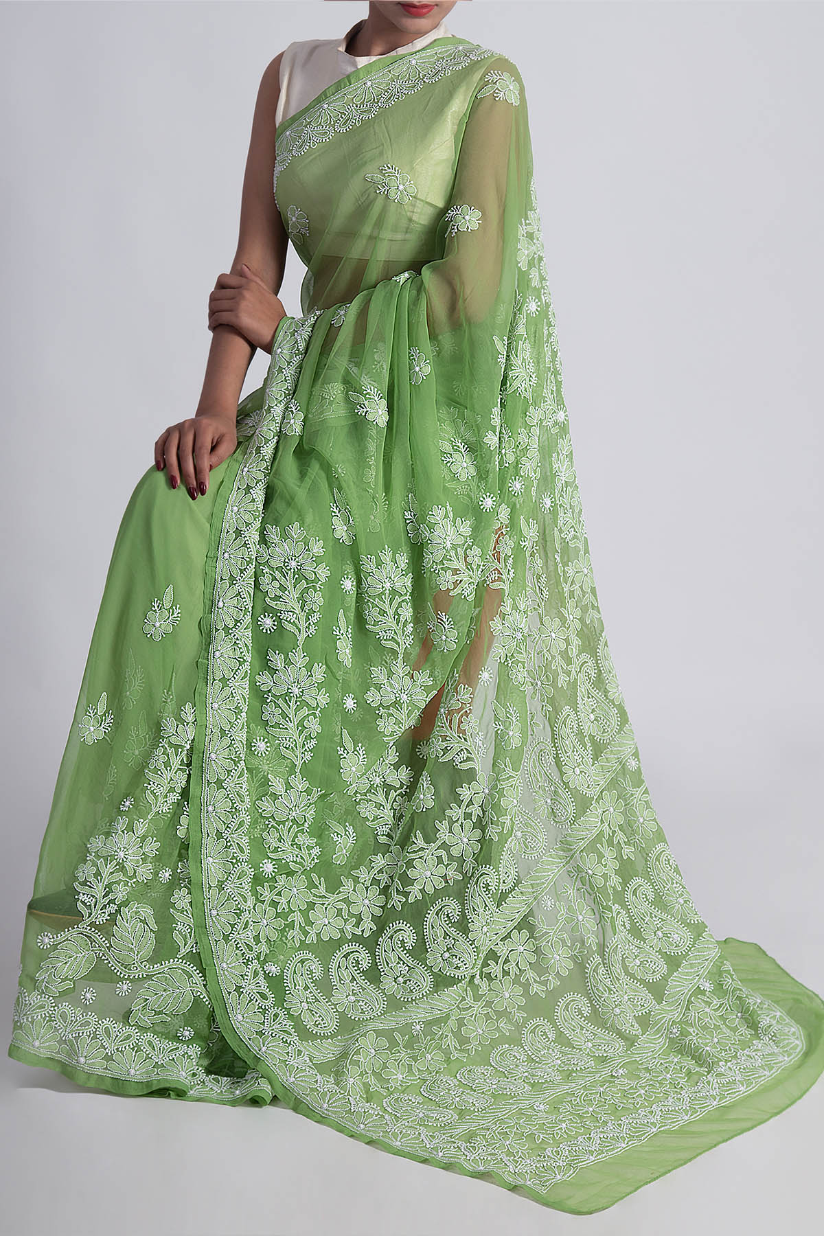 Green Colour Hand Embroidered Designer Lucknowi Chikankari Saree (With Blouse - Georgette) GA250621