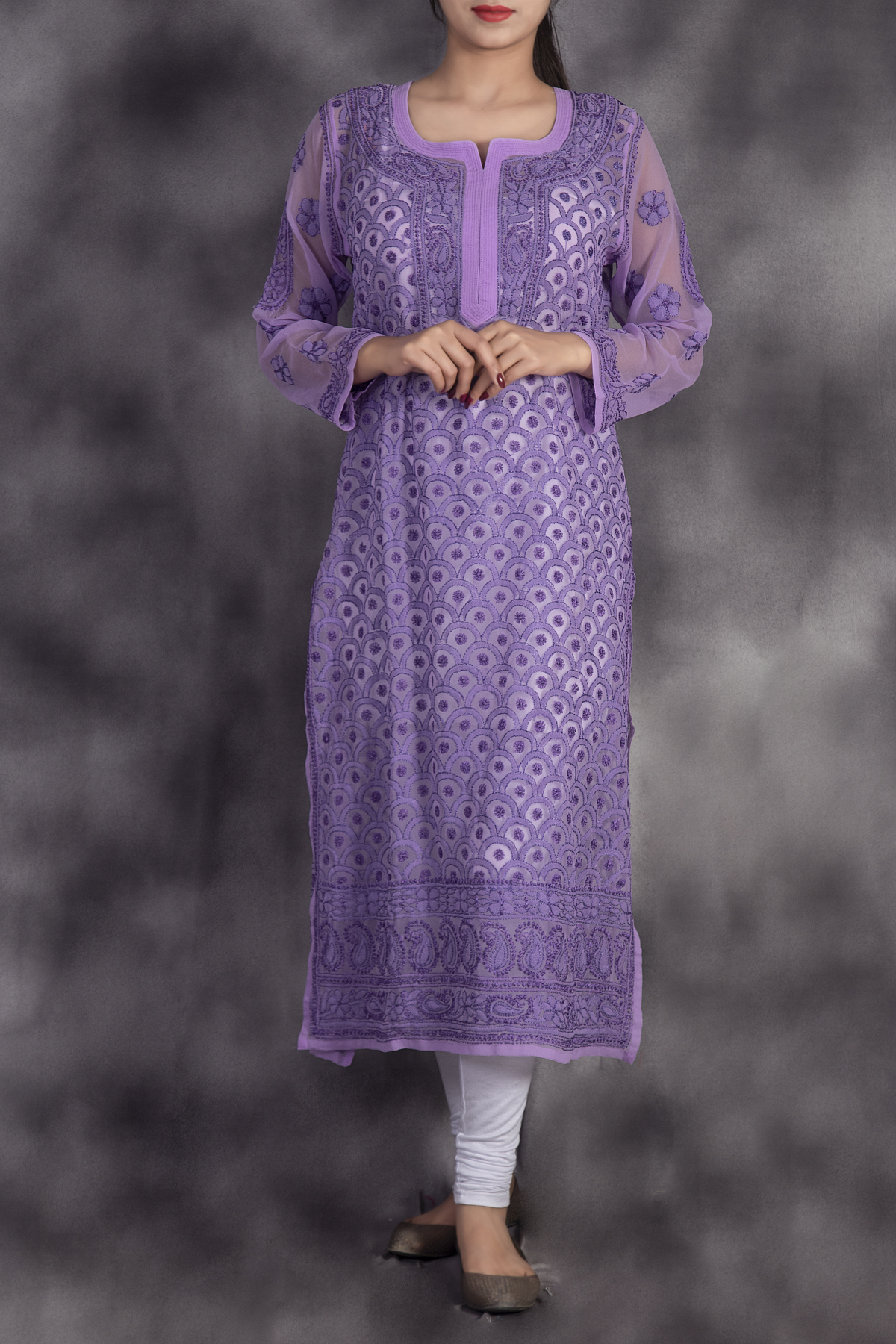 Hand Embroidered Lavender Georgette Lucknowi Chikan Kurti-GA250623