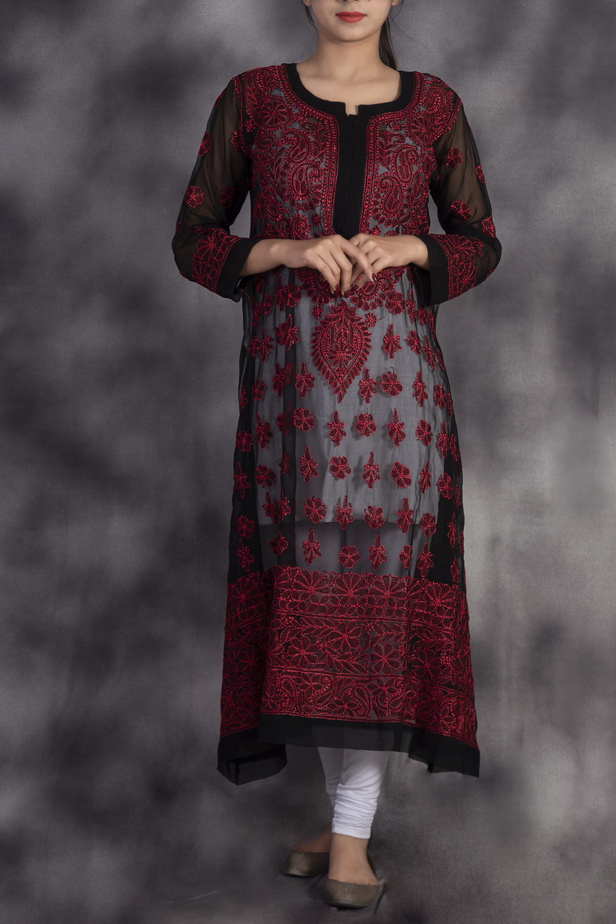 Hand Embroidered Black Georgette Lucknowi Chikan Kurti With Red Thread Work-ga250626
