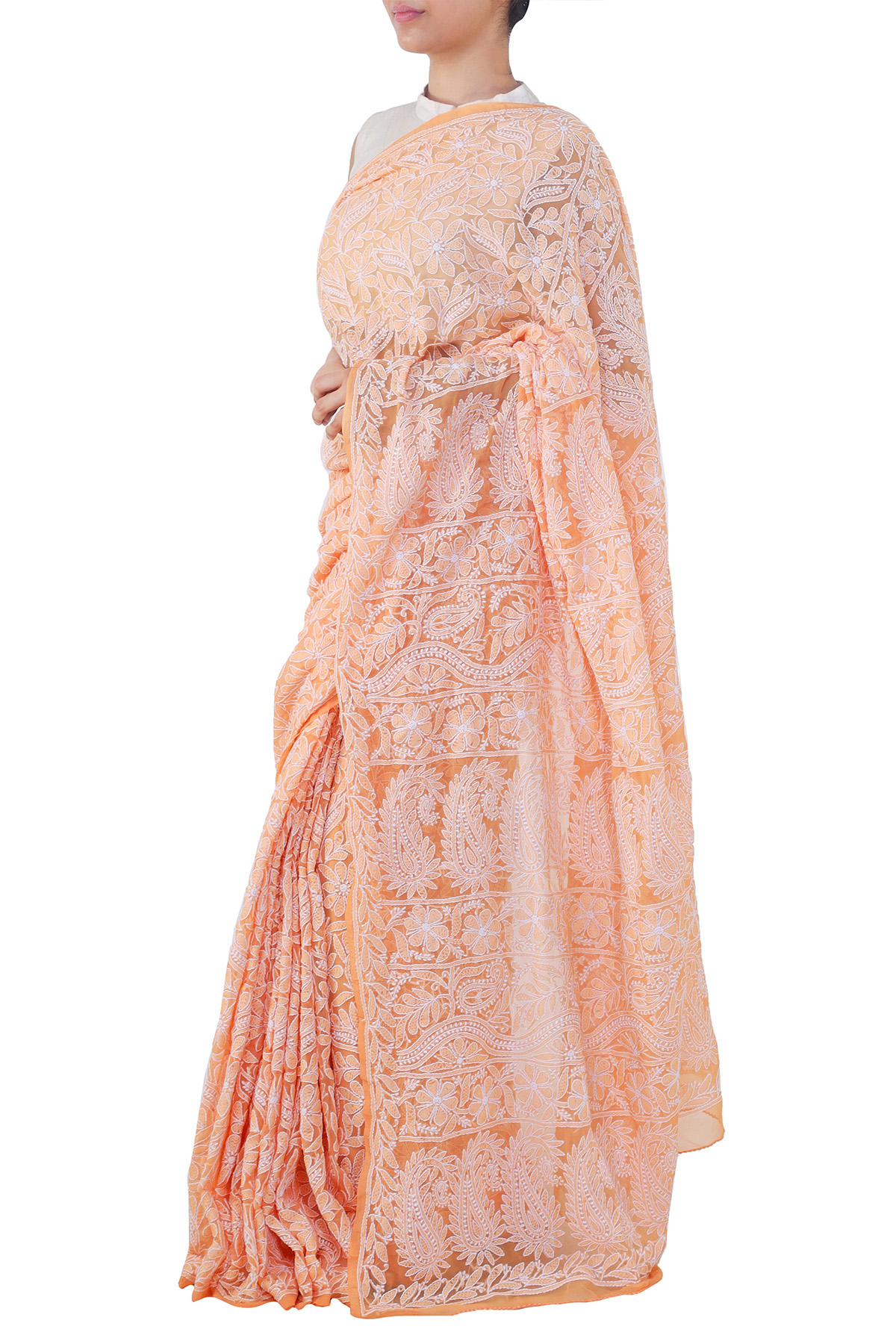 Orange Color Allover Heavy Palla Hand Embroidered Lucknowi Chikankari Saree (With Blouse - Georgette) KC250679