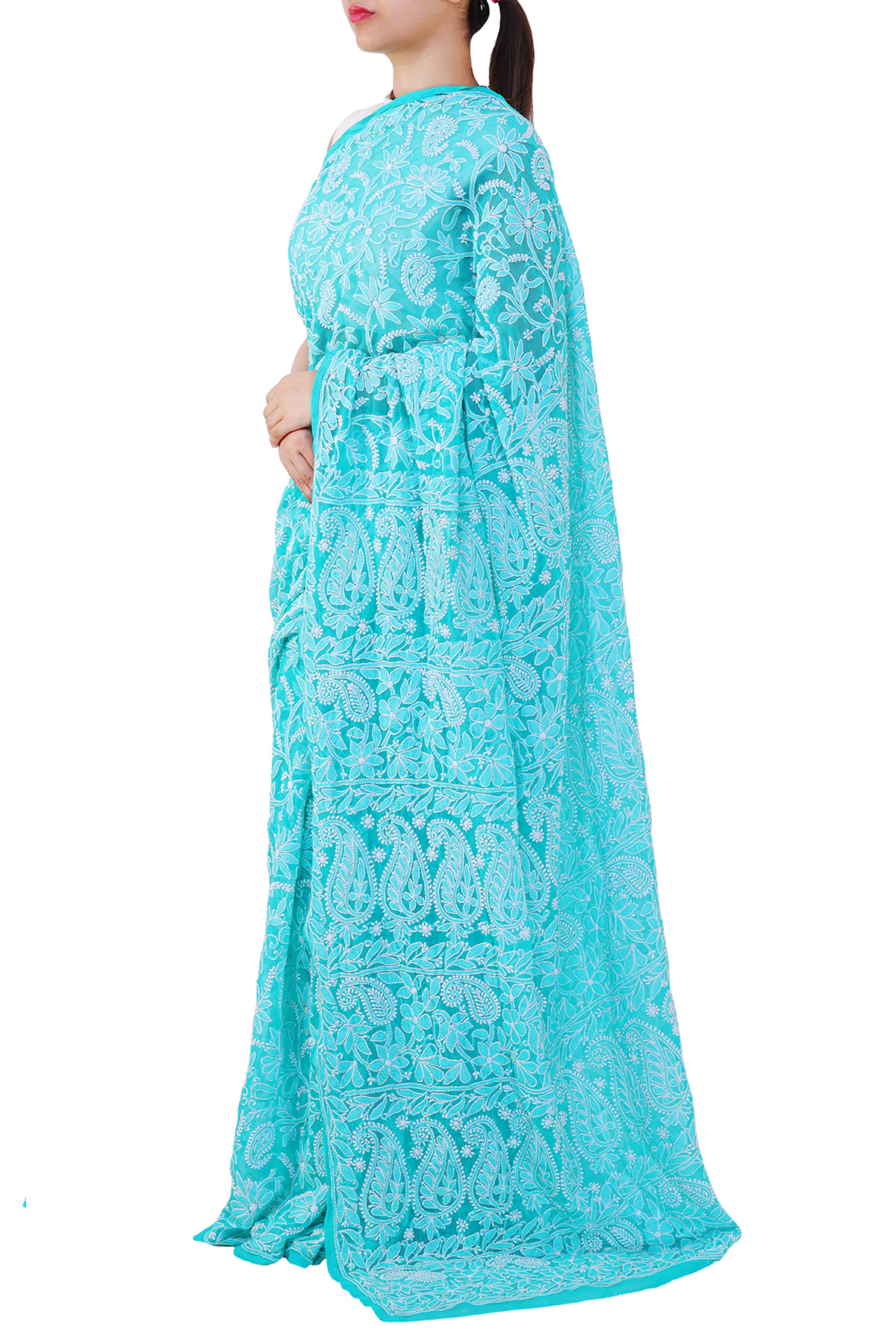 Blue Color Allover Heavy Palla Hand Embroidered Lucknowi Chikankari Saree (With Blouse - Georgette) KC250681