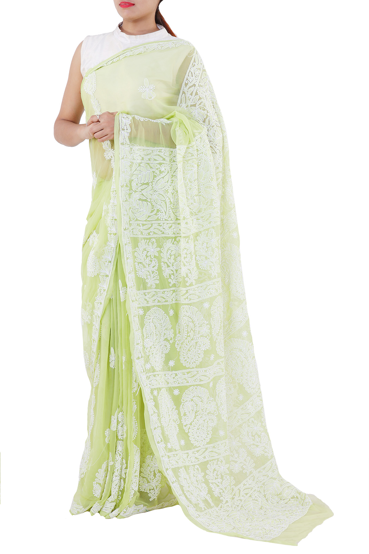Green Color Hand Embroidered Lucknowi Chikankari Saree (With Blouse - Georgette) KC250683
