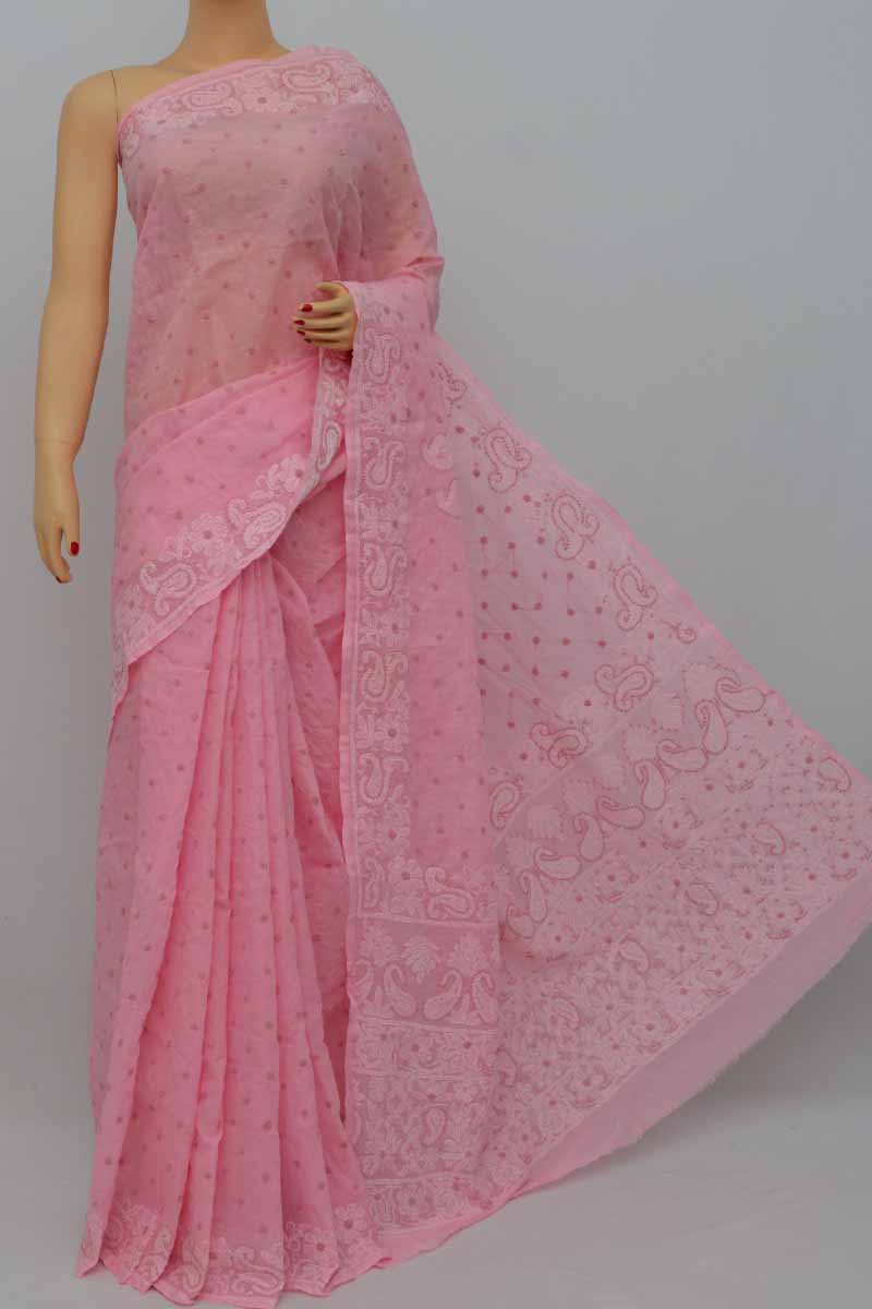 2e93d80d4b Babypink Color Hand Embroidered Allover Lucknowi Chikankari Saree (With  Blouse - Cotton) SS250431